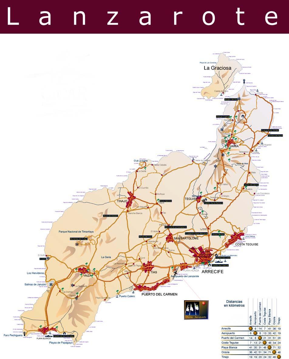 Схематичная дорожная карта острова